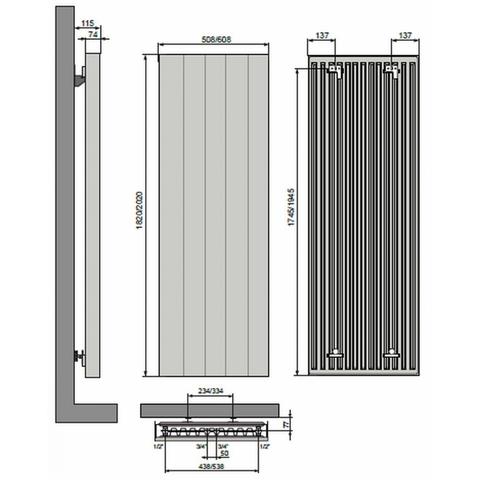Vasco Vertiline VD designradiator 202 x 50,8 cm (H x L) antraciet m301