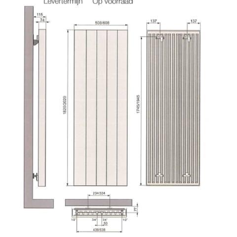 Vasco Vertiline VD designradiator 202 x 50,8 cm (H x L) wit ral 9016