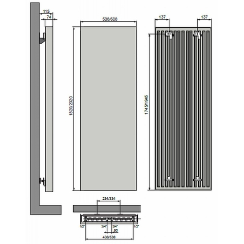 Vasco Vertiline VG designradiator 182 x 50,8 cm (H x L) antraciet m301