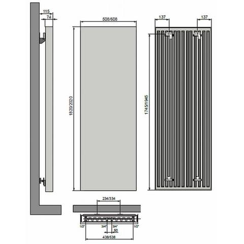 Vasco Vertiline VG designradiator 202 x 60,8 cm (H x L) antraciet m301
