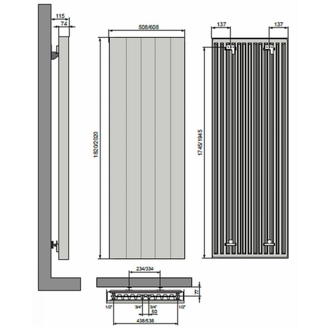 Vasco Vertiline VD designradiator 182 x 60,8 cm (H x L) wit ral 9016