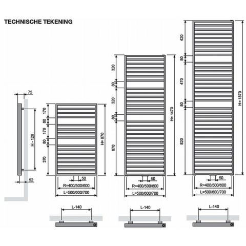 Vasco Arche AB designradiator 187 x 70 cm (H x L) wit ral 9016