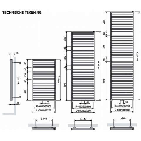 Vasco Arche AB designradiator 187 x 50 cm (H x L) wit ral 9016