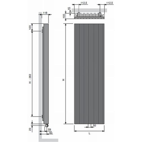 Vasco Bryce BV100 designradiator 200 x 52,5 cm (H x L) wit s600