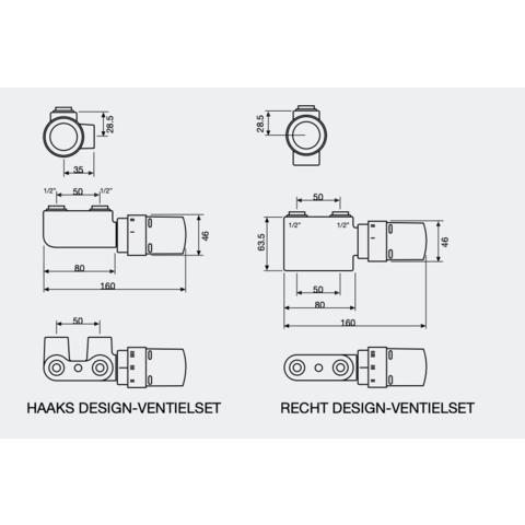 Vasco design ventielset haaks chroom