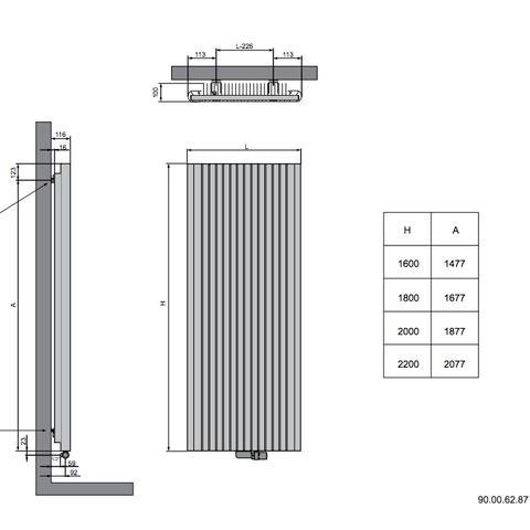 Vasco Alu-Zen designradiator 200 x 60 cm (H X L) wit s600