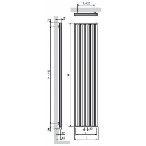 Vasco Arche VV designradiator 180 x 57 cm (H x L) wit ral 9016