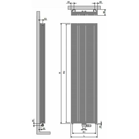 Vasco Carre CPVN-Plus designradiator 180 x 41,5 cm (H x L) antraciet m301