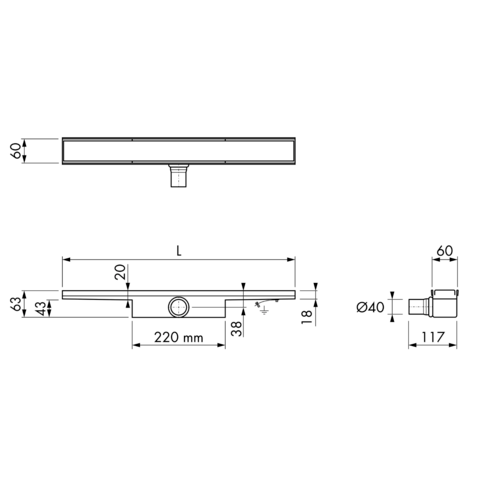 Easydrain Compact 30 Zero douchegoot 60cm