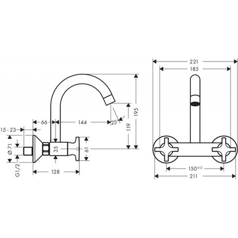 Hansgrohe Logis classic wand keukenkraan met hoge uitloop chroom