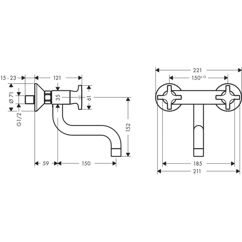 Hansgrohe Logis classic wandkeukenkraan met onder uitloop chroom