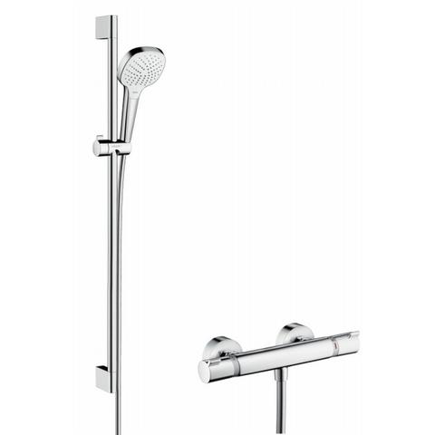 Hansgrohe Croma Select E vario glijstangset 90cm - met Ecostat Comfort thermostaat - wit-chroom