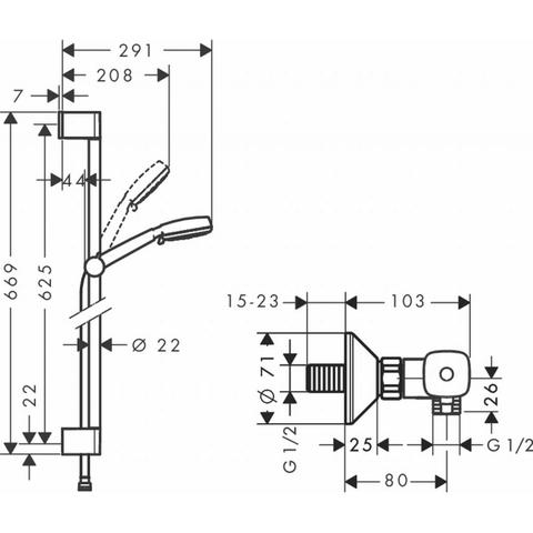 Hansgrohe Crometta 100 vario glijstangset 65 cm. met ecostat wit-chroom