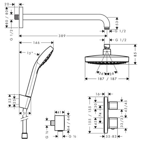 Hansgrohe Croma Select E inbouw doucheset compleet vierkante uitvoering chroom