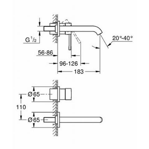 Grohe Essence inbouw wastafelkraan 18,3cm zonder inbouwdeel chroom