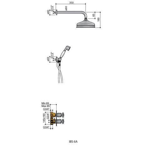 Hotbath IBS 6A inbouw doucheset Amice met 2-weg-stop-omstel chroom - wandarm