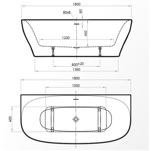 Xenz Dion halfvrijstaand ligbad 180 x 80 cm mat wit