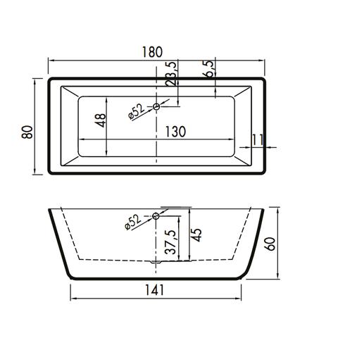 Xenz Donna vrijstaand bad 180x80cm mat wit