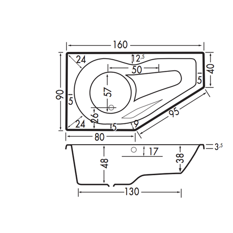 Xenz Fiji bad 160x90cm rechts asymmetrisch met douchegedeelte Pergamon