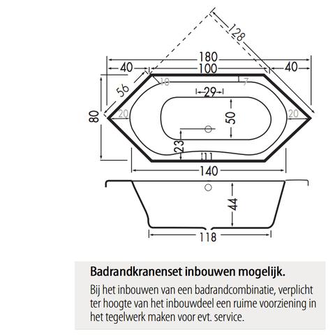 Xenz Lucia zeshoekig bad 180x80cm Pergamon