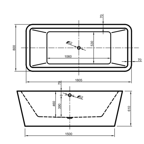 Xenz Marina vrijstaand bad 180x80cm mat wit
