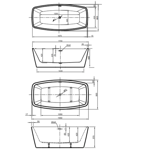 Xenz Moniek vrijstaand bad 170x80cm mat wit