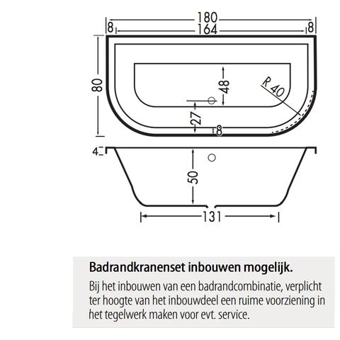 Xenz Principe Basic bad 180x80cm met 2 ronde hoeken Cement