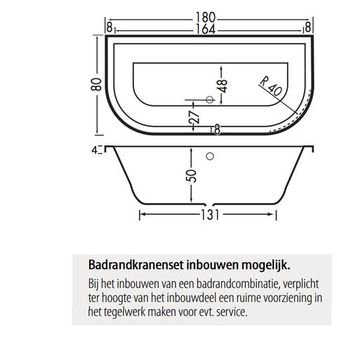 Xenz Principe Basic bad 180x80cm met 2 ronde hoeken Pergamon