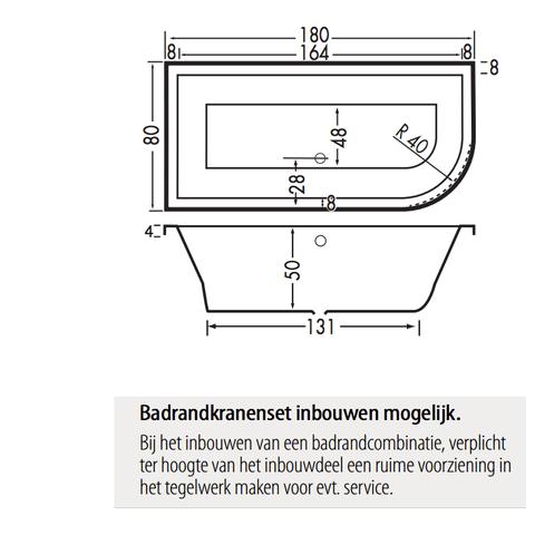 Xenz Principe bad 180x80cm met 1 ronde hoek, uitvoering links Cement