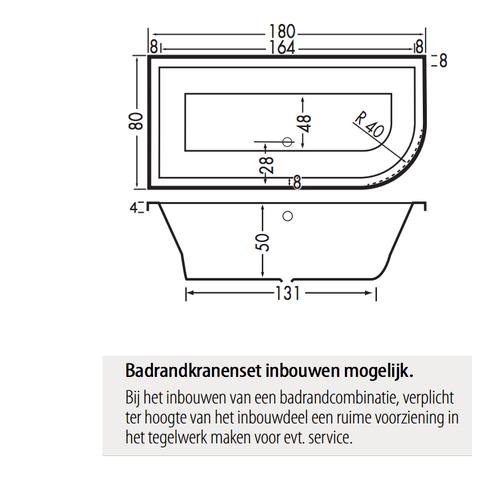 Xenz Principe bad 180x80cm met 1 ronde hoek, uitvoering rechts Cement