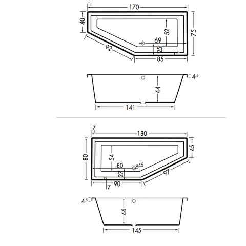Xenz Society Compact bad 170x75cm links asymmetrisch Cement