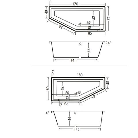 Xenz Society Compact bad 170x75cm links asymmetrisch Edelweisss