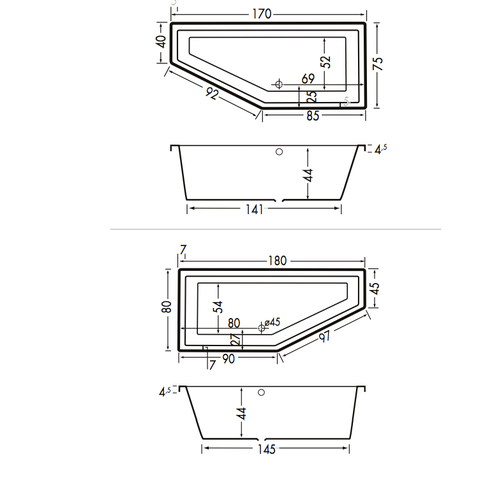 Xenz Society Compact bad 180x80cm rechts asymmetrisch Antraciet