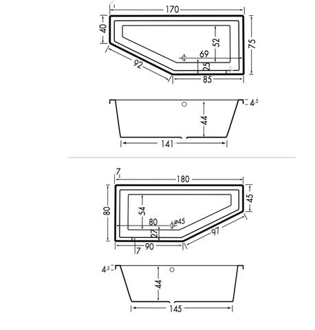 Xenz Society Compact bad 180x80cm rechts asymmetrisch Klei