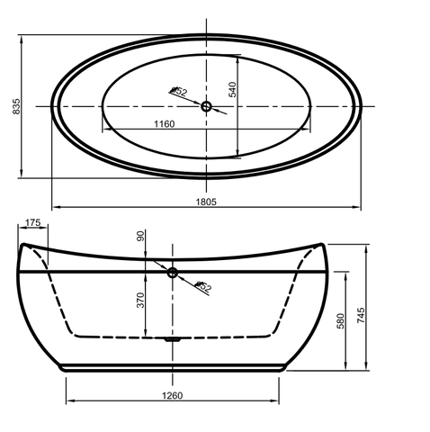 Xenz Stijn vrijstaand bad 180x84cm mat wit