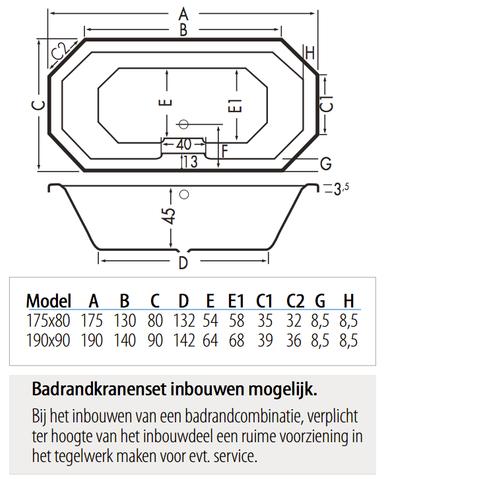 Xenz Sumba achthoekig bad 190x90cm Edelweiss