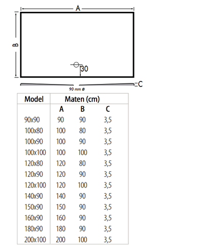 Xenz Flat douchevloer 100x80 cm Ebony