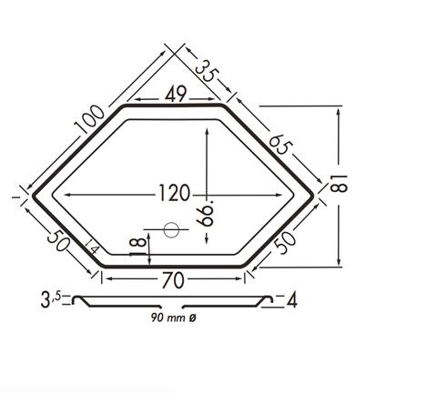 Xenz Honolulu douchebak zeshoekig 100x100cm Edelweisss