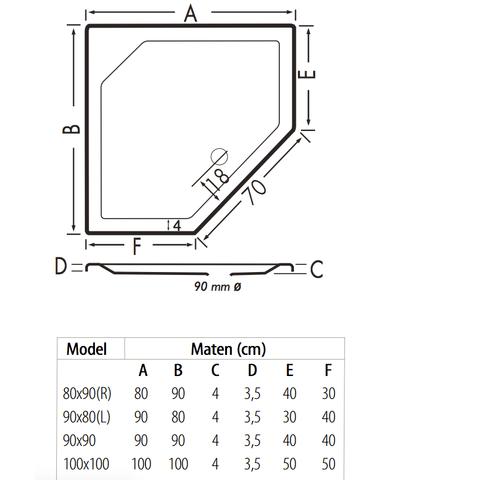 Xenz Marshall douchebak vijfhoekig 90x90cm Antraciet