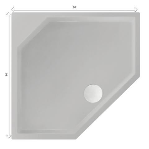 Xenz Marshall douchebak vijfhoekig 90x90cm Cement