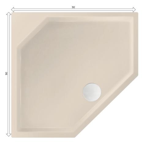 Xenz Marshall douchebak vijfhoekig 90x90cm Crème