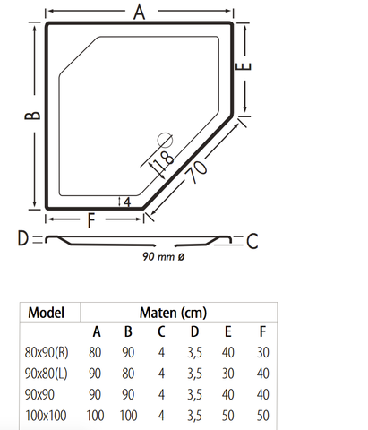 Xenz Marshall douchebak vijfhoekig 90x80cm Antraciet