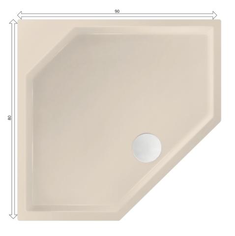 Xenz Marshall douchebak vijfhoekig 90x80cm Crème