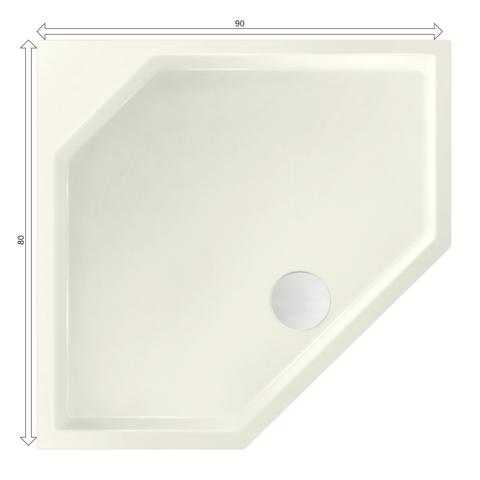 Xenz Marshall douchebak vijfhoekig 90x80cm Edelweiss