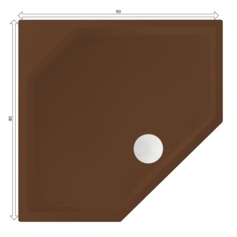 Xenz Marshall douchebak vijfhoekig 90x80cm Klei