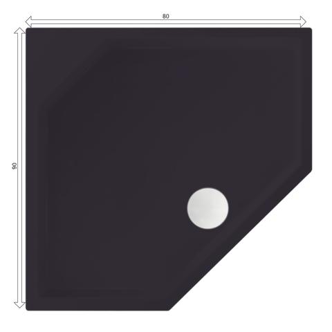 Xenz Marshall douchebak vijfhoekig 80x90cm Antraciet