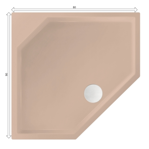 Xenz Marshall douchebak vijfhoekig 80x90cm Bahama beige