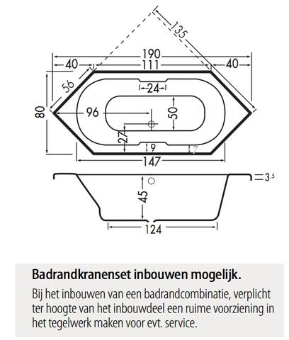 Xenz Antilla zeshoekig bad 190x80cm Cement