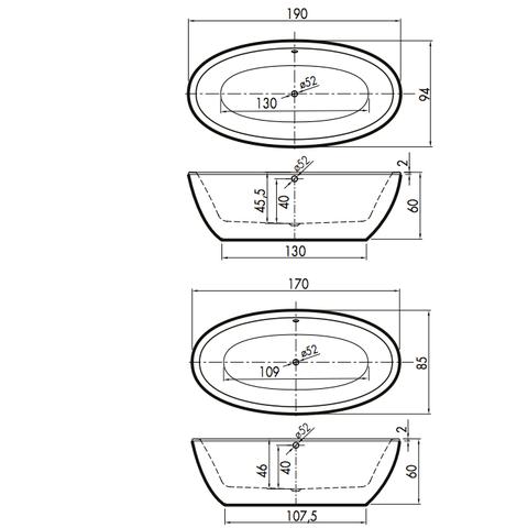 Xenz Britt 190x94x60 edelweiss met afvoer/overloop chroom