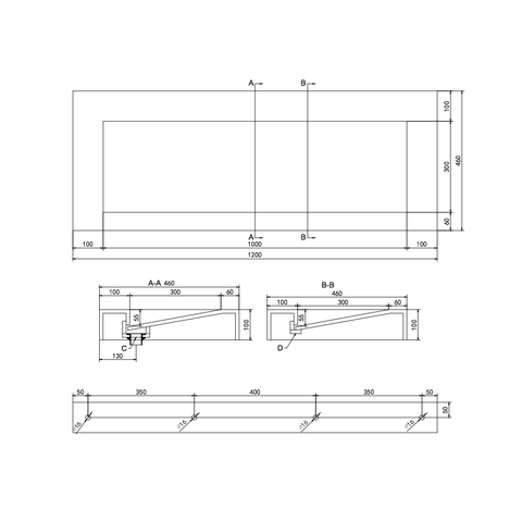 Ideavit Solidsquare B-10 wastafel 120x46 cm mat wit zonder kraangat